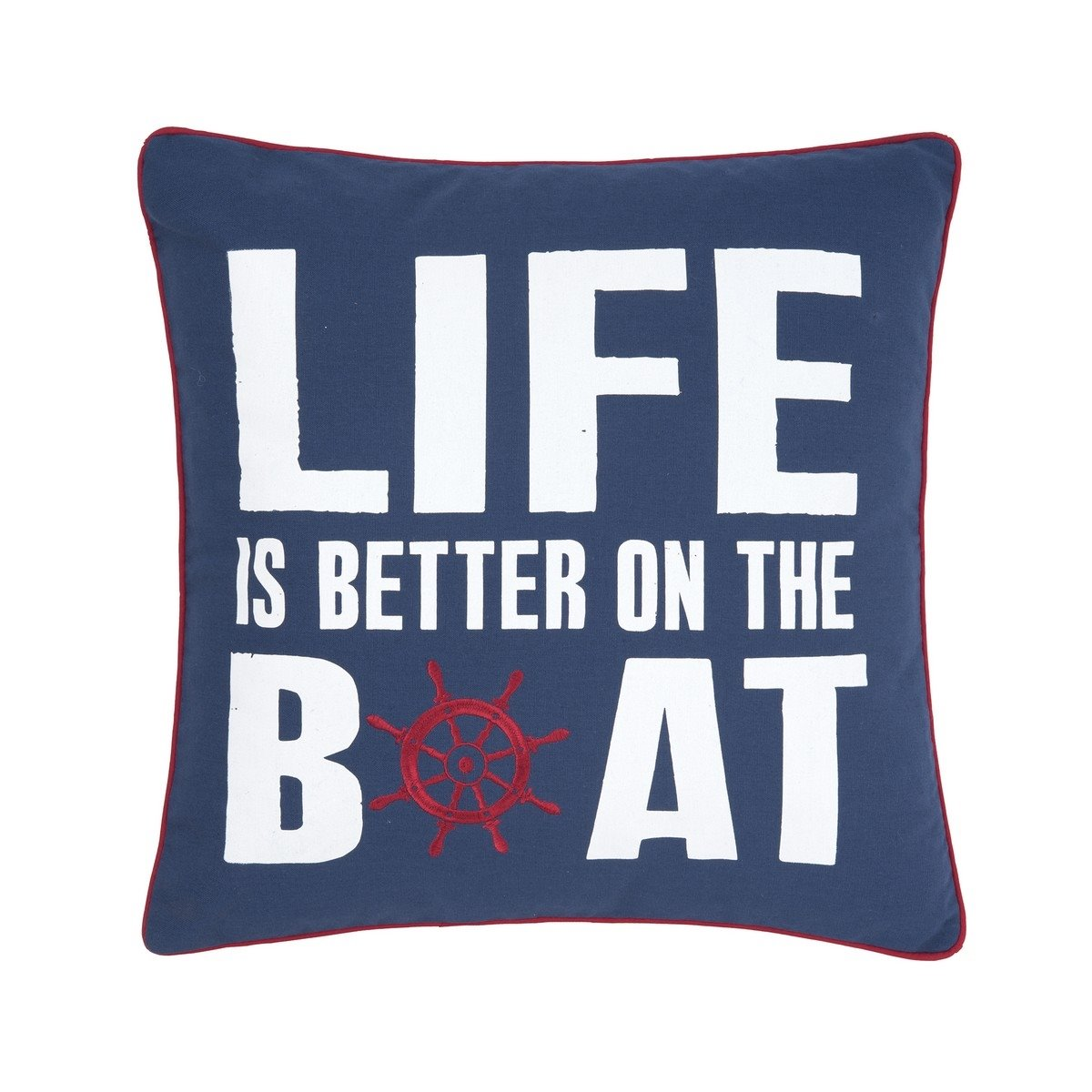 Life is Better on the Boat Embroidered Pillow