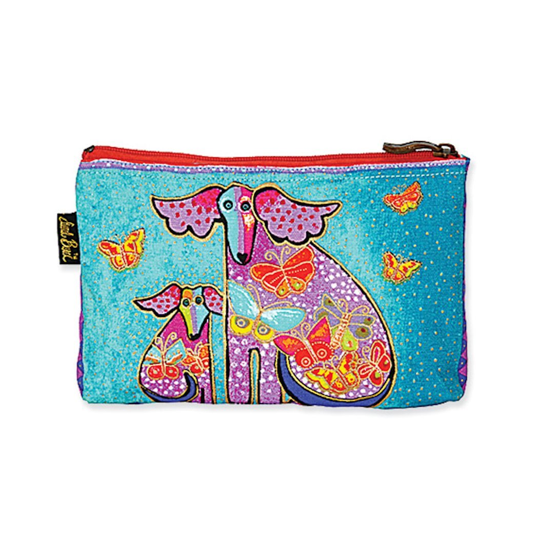 Laurel Burch Dog Tales Cosmetic Bag - turquoise