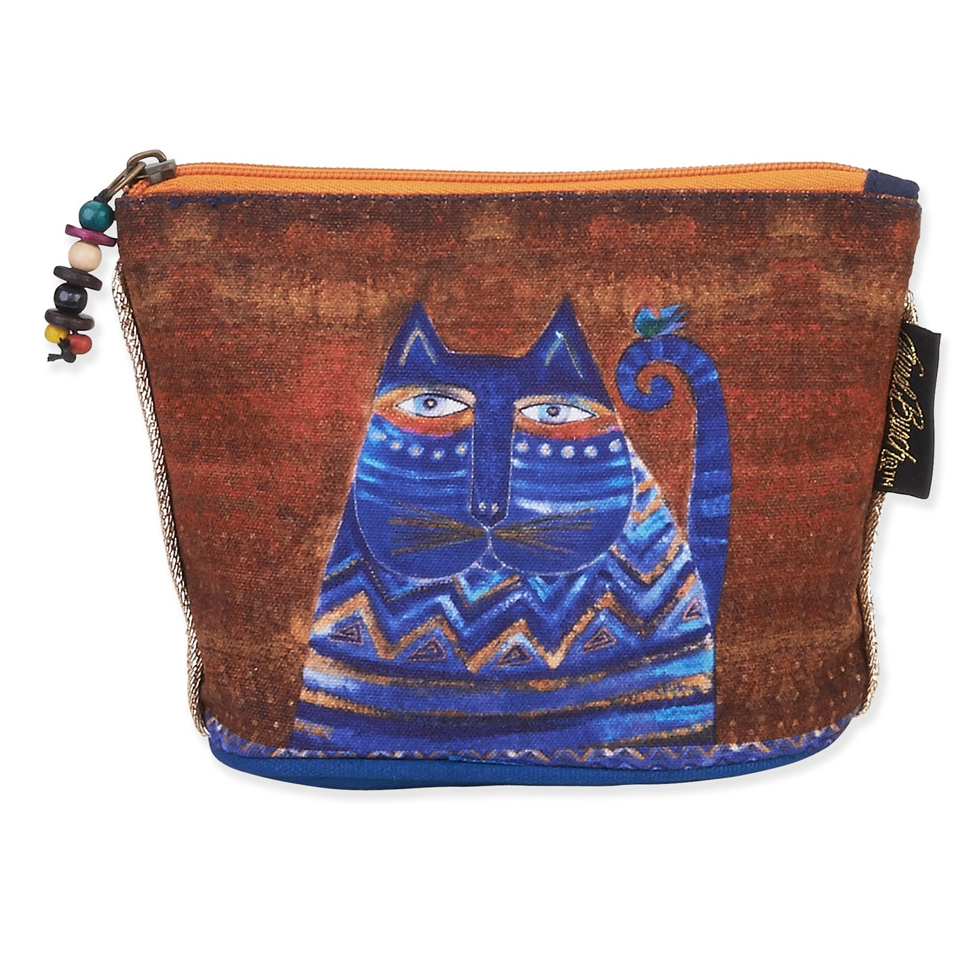 Laurel Burch Feline Mini Cosmetic Bag - blue cat