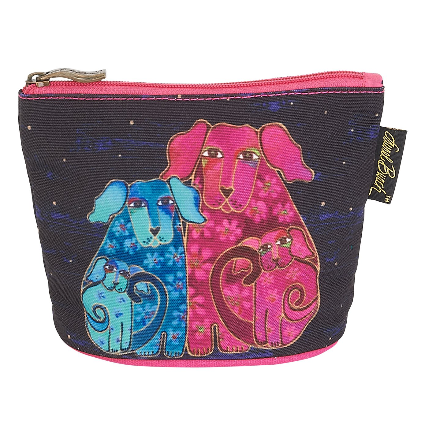 Laurel Burch Canine Friends Mini Cosmetic Bag - dog family