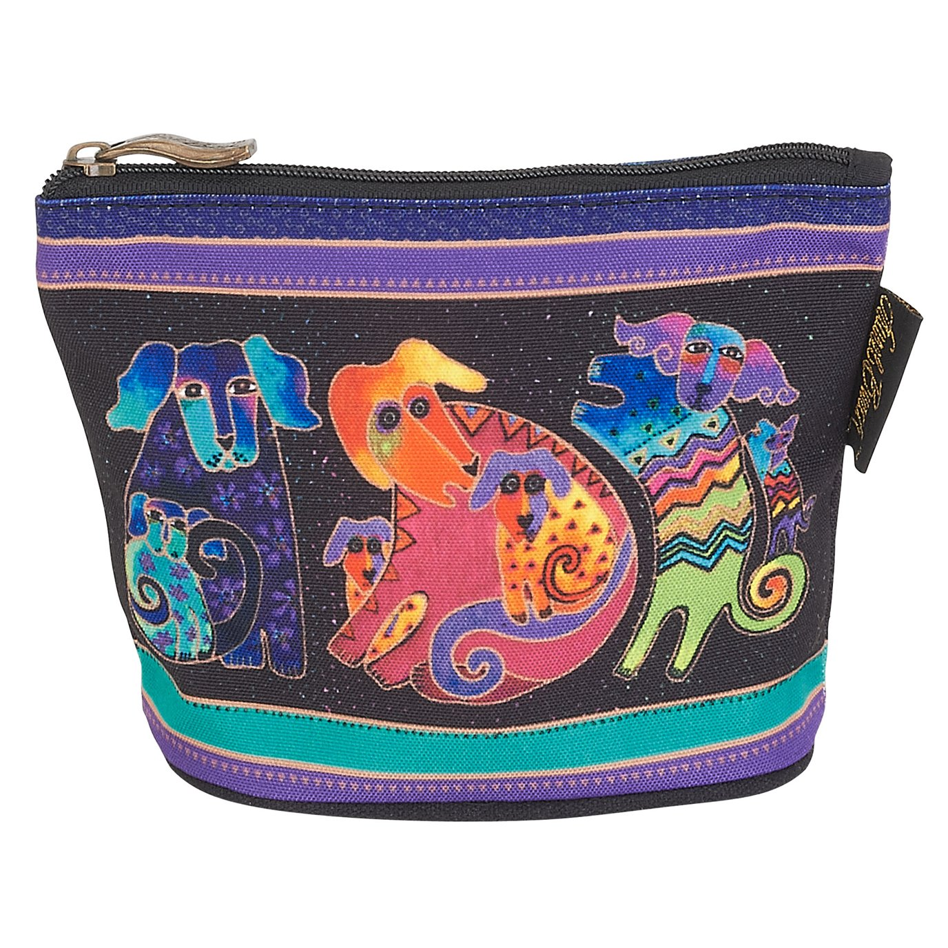 Laurel Burch Canine Friends Mini Cosmetic Bag - playful dogs