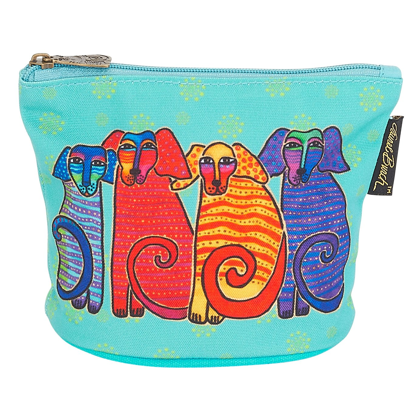 Laurel Burch Canine Friends Mini Cosmetic Bag - turquoise