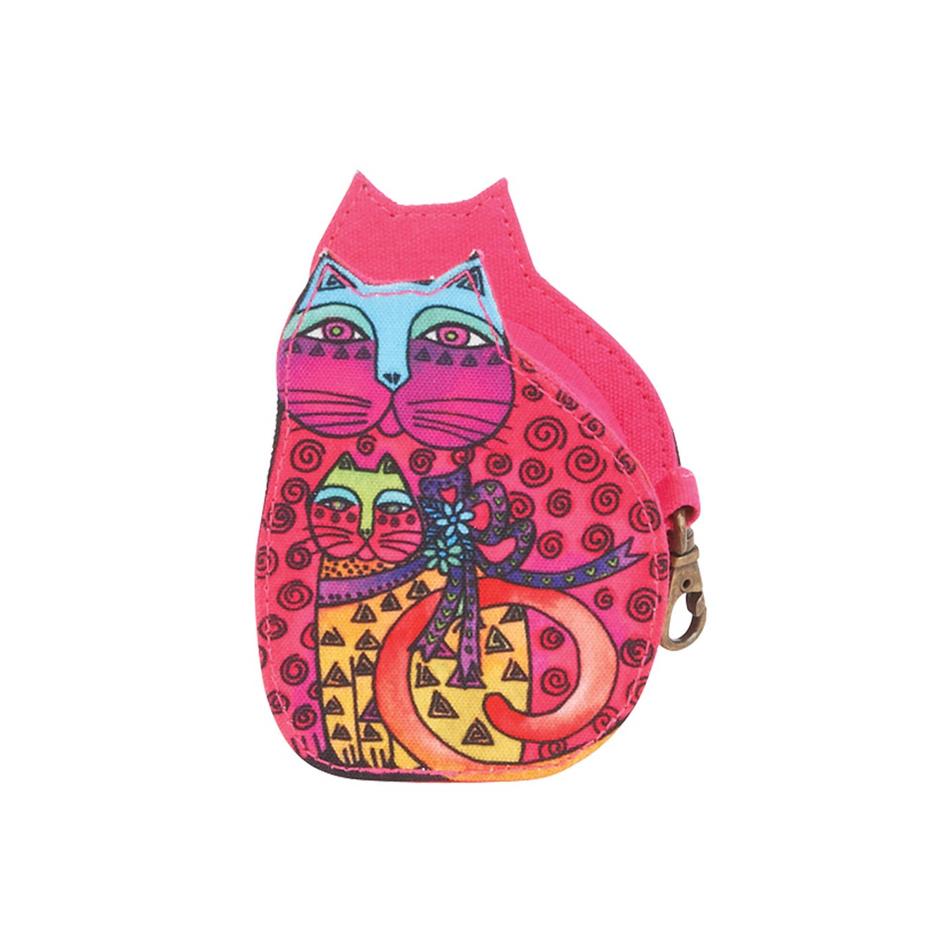 Laurel Burch Mother Daughter Cat Coin Purse - pink