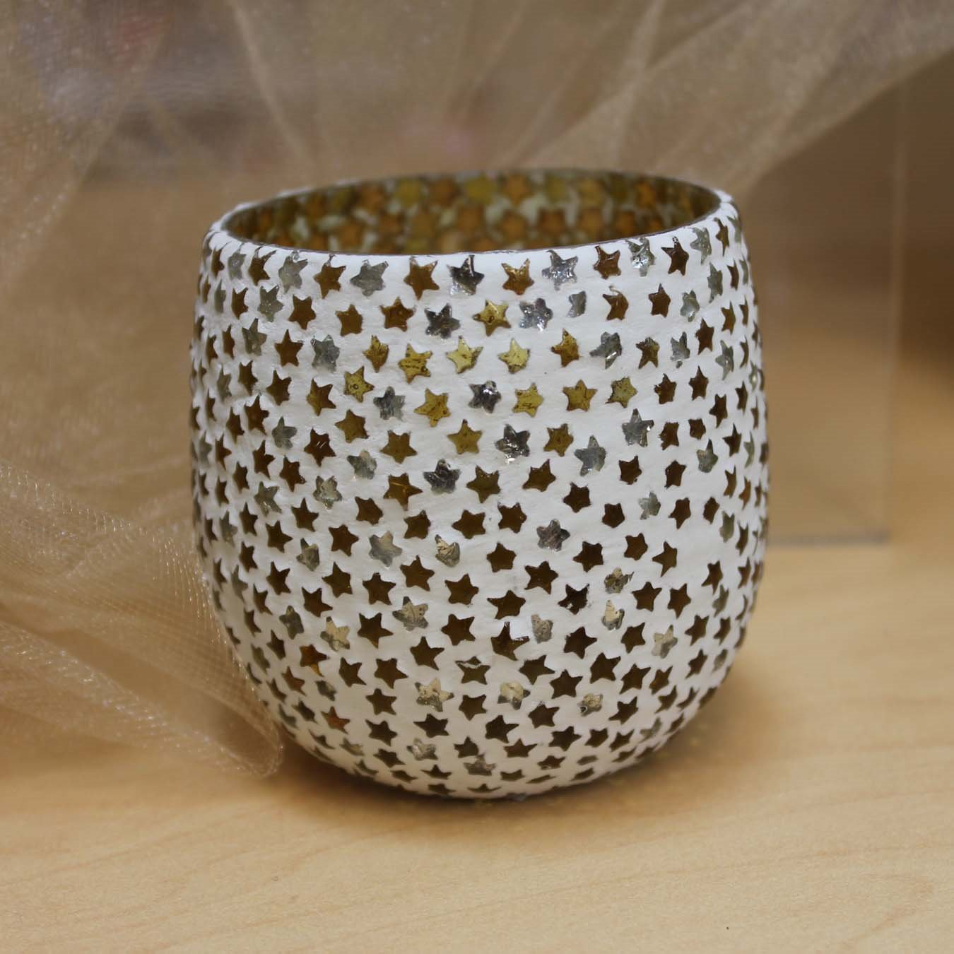 Stars Glass Mosaic Tealight Holder