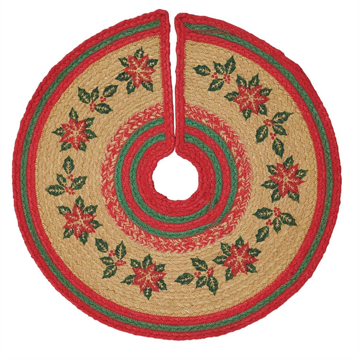Poinsettia Jute Mini Tree Skirt 21