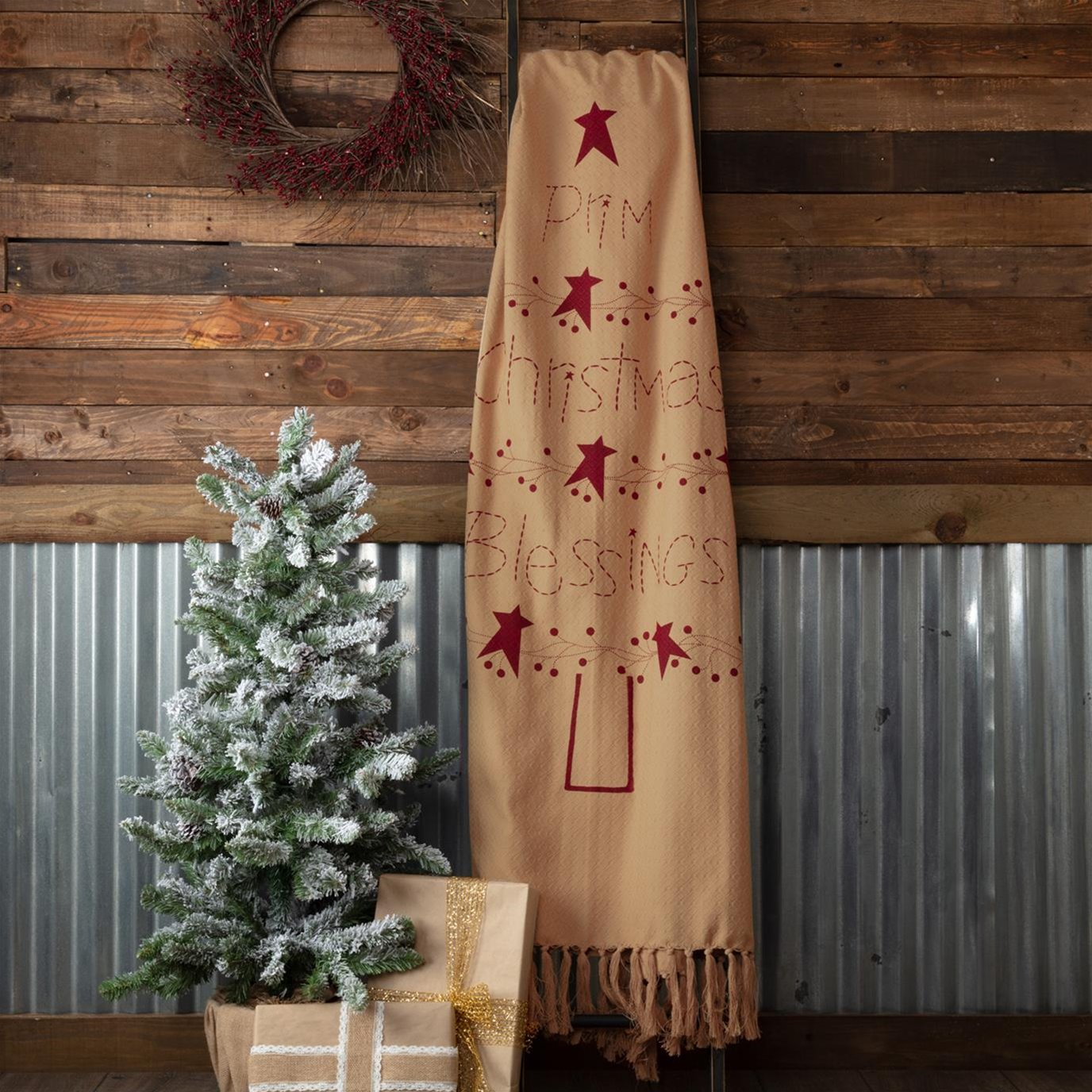 Prim Christmas Blessings Woven Throw 60x50