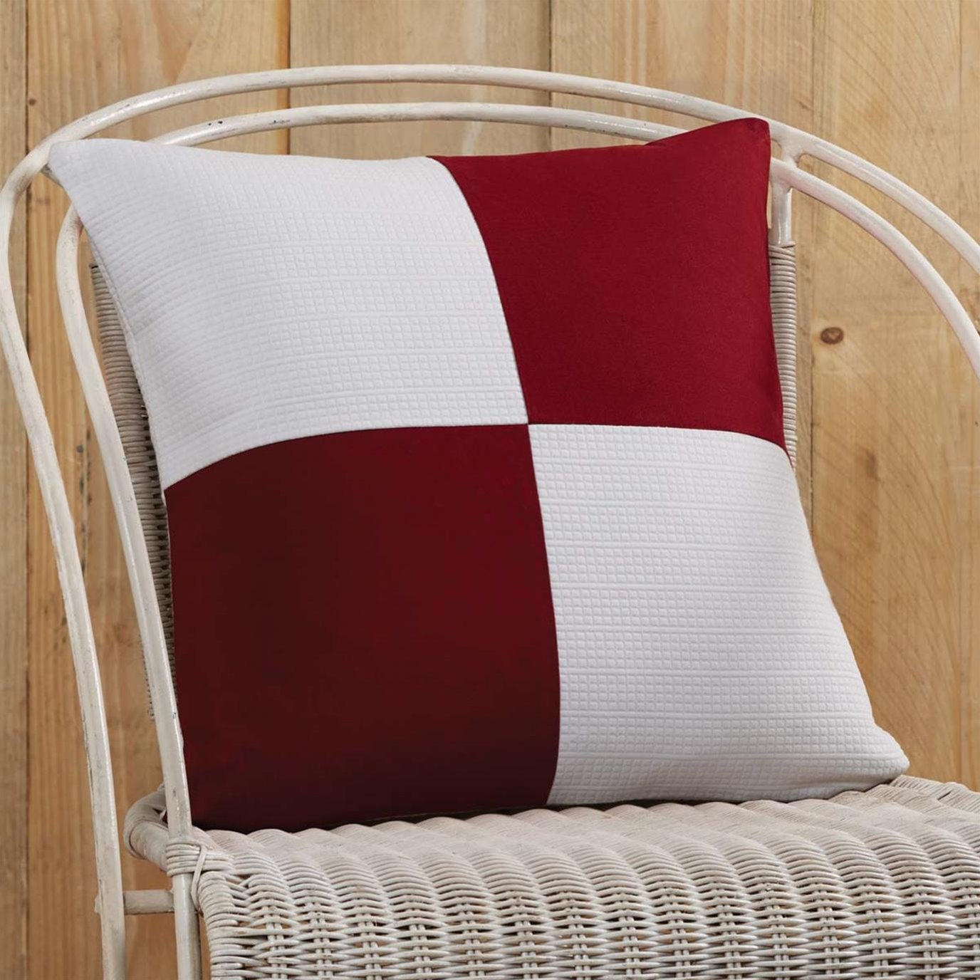 Red and White Patchwork Pillow Cover 18x18