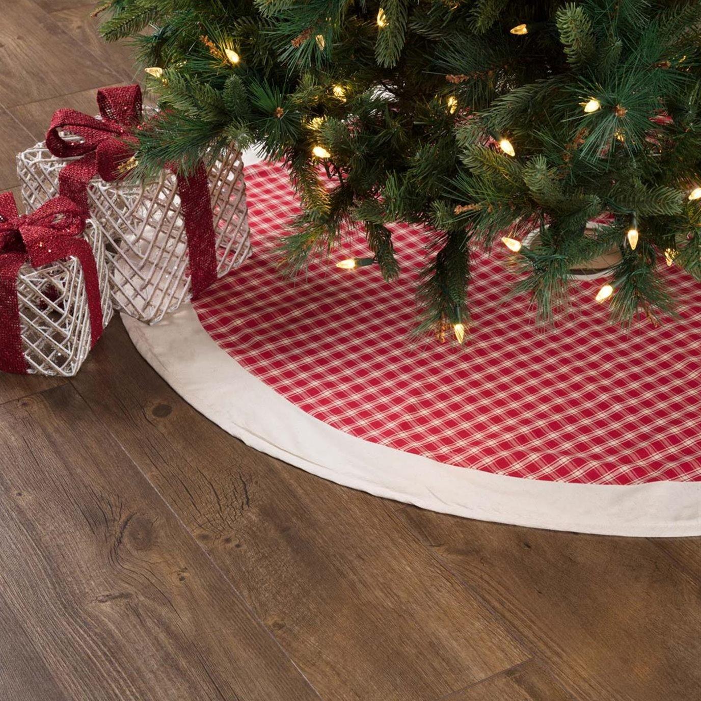 Red Plaid Tree Skirt 48