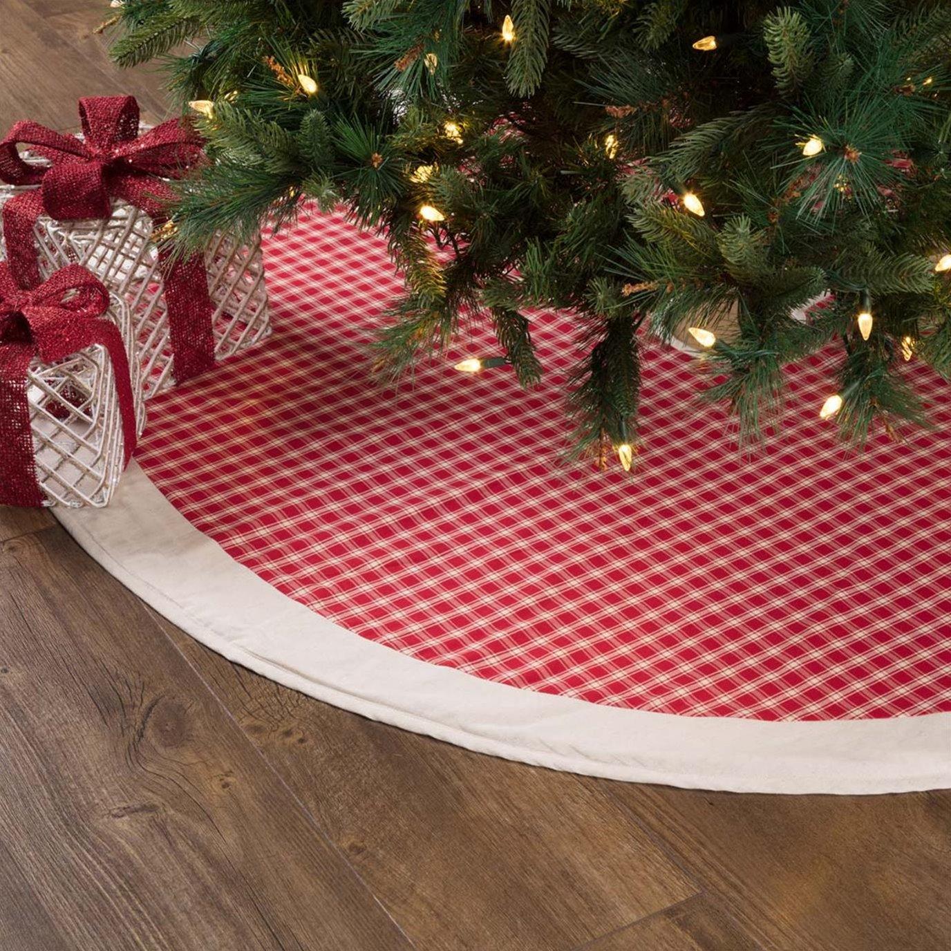 Red Plaid Tree Skirt 55