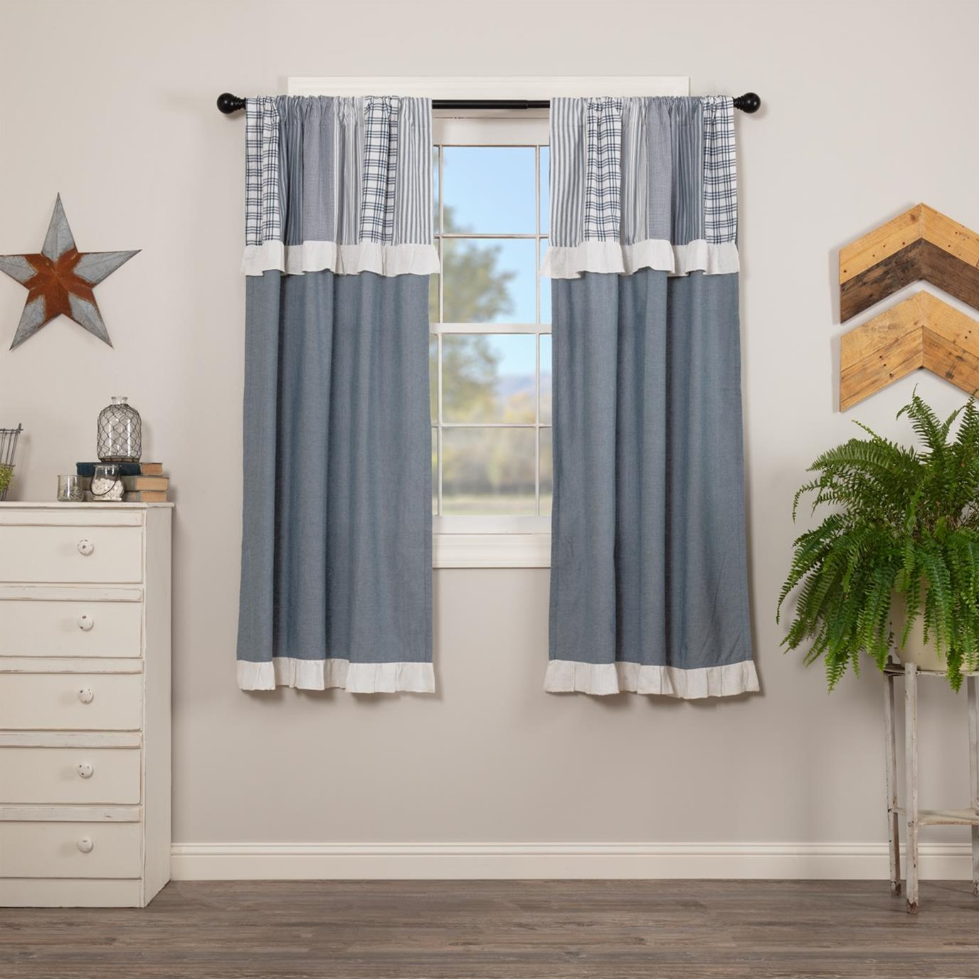 Sawyer Mill Blue Short Panel with Attached Patchwork Valance Set of 2 63x36