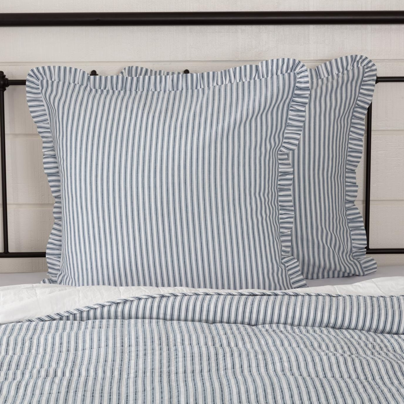 Sawyer Mill Blue Ticking Stripe Fabric Euro Sham 26x26