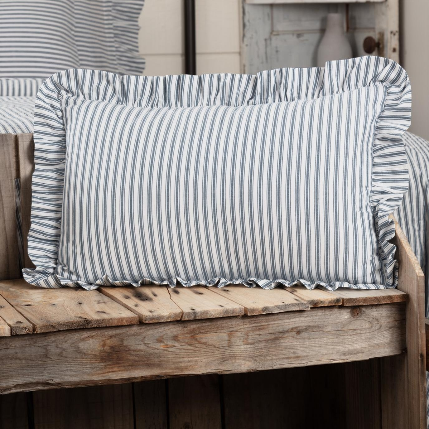Sawyer Mill Blue Ticking Stripe Fabric Pillow 14x22