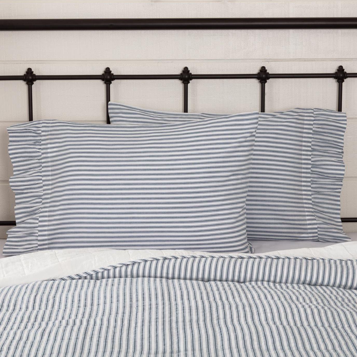 Sawyer Mill Blue Ticking Stripe Ruffled Standard Pillow Case Set of 2 21x30