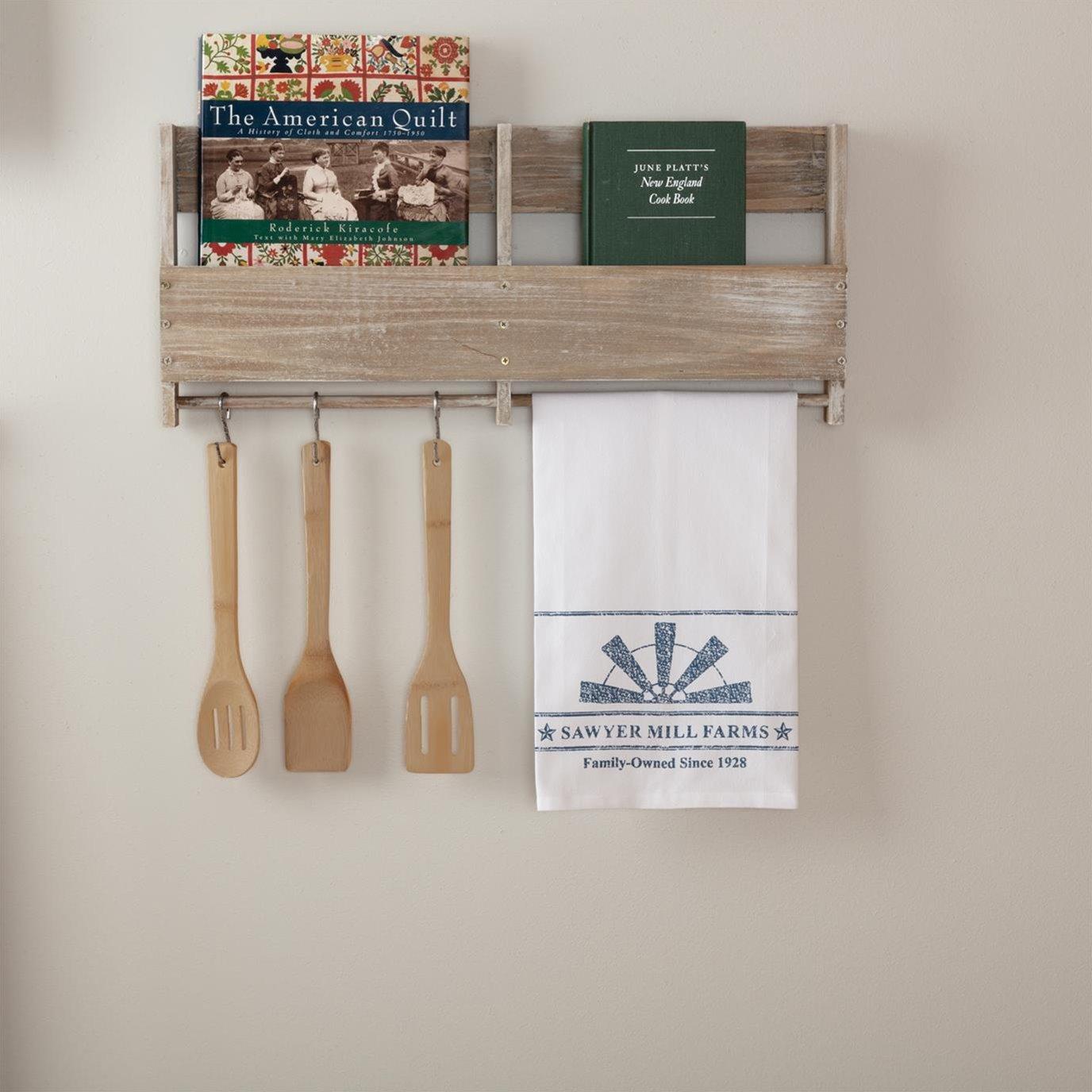 Sawyer Mill Blue Windmill Blade Muslin Bleached White Tea Towel 19x28