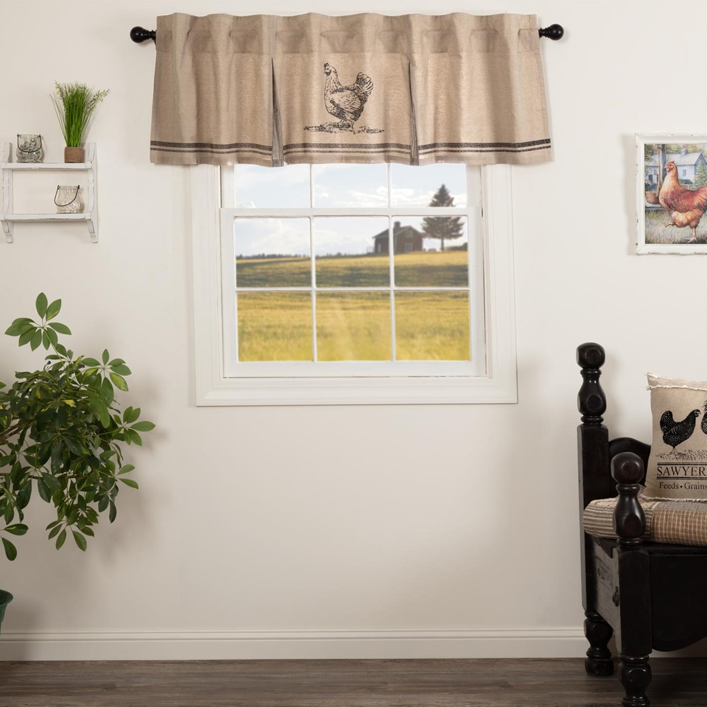 Sawyer Mill Charcoal Chicken Valance Pleated 20x72