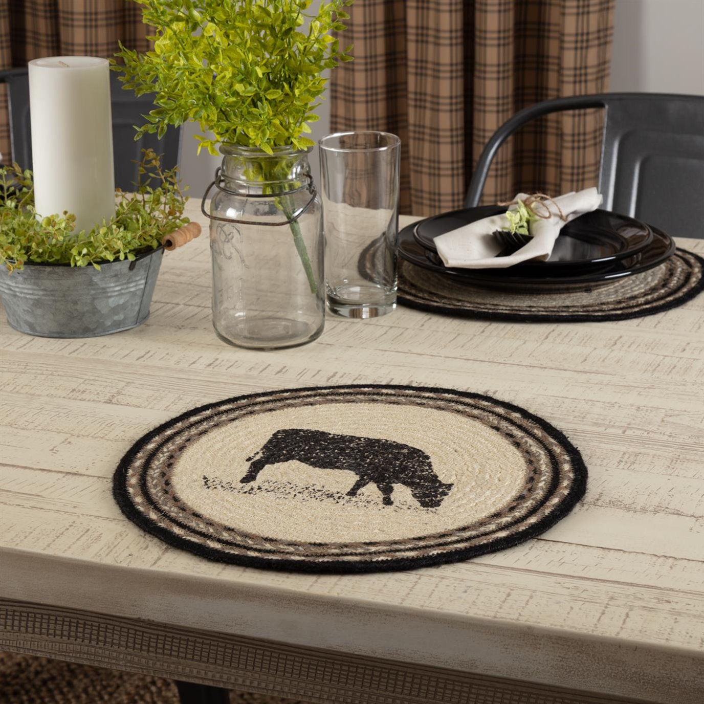 Sawyer Mill Charcoal Cow Jute Tablemat 13 Set of 6