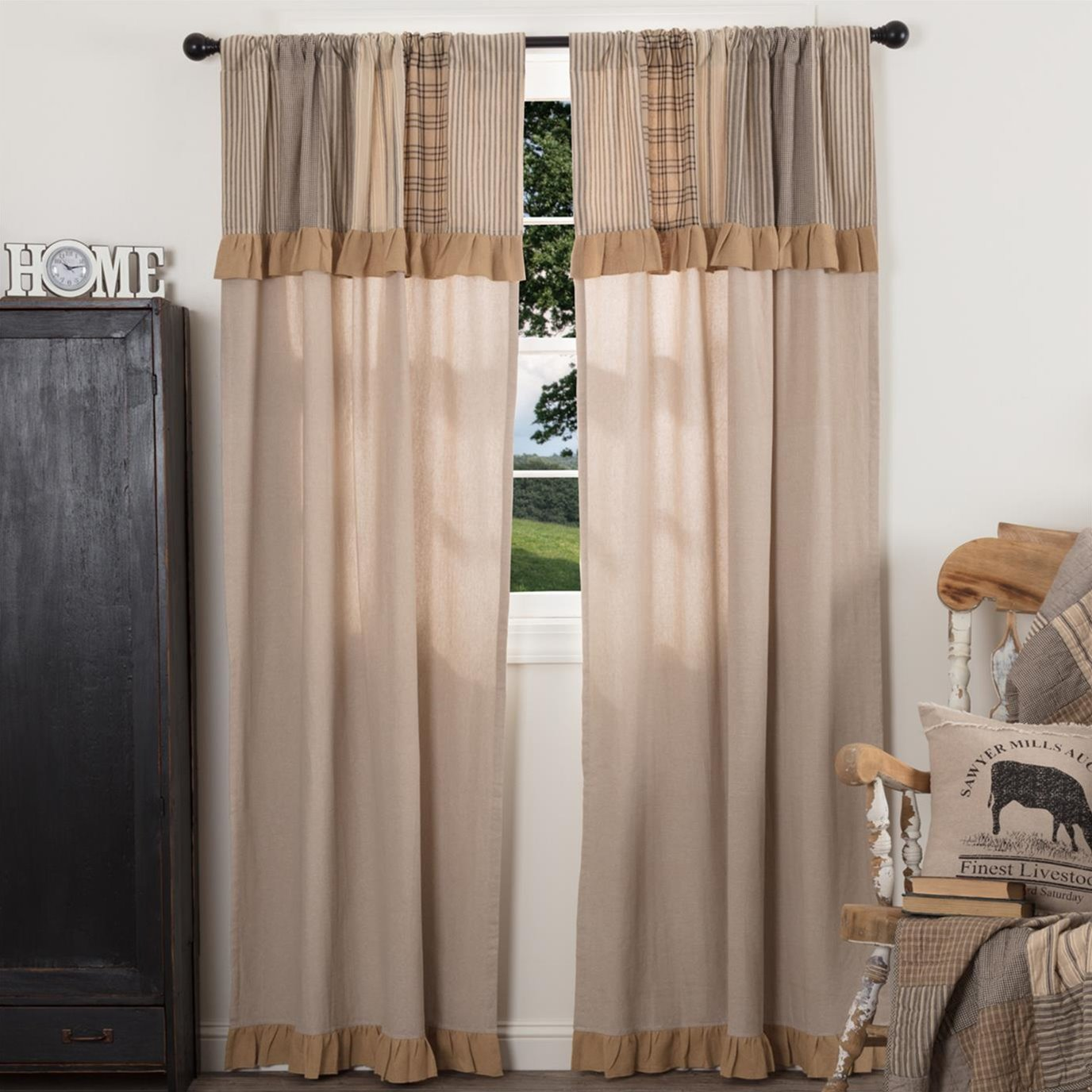 Sawyer Mill Charcoal Panel with Attached Patchwork Valance Set of 2 84x40