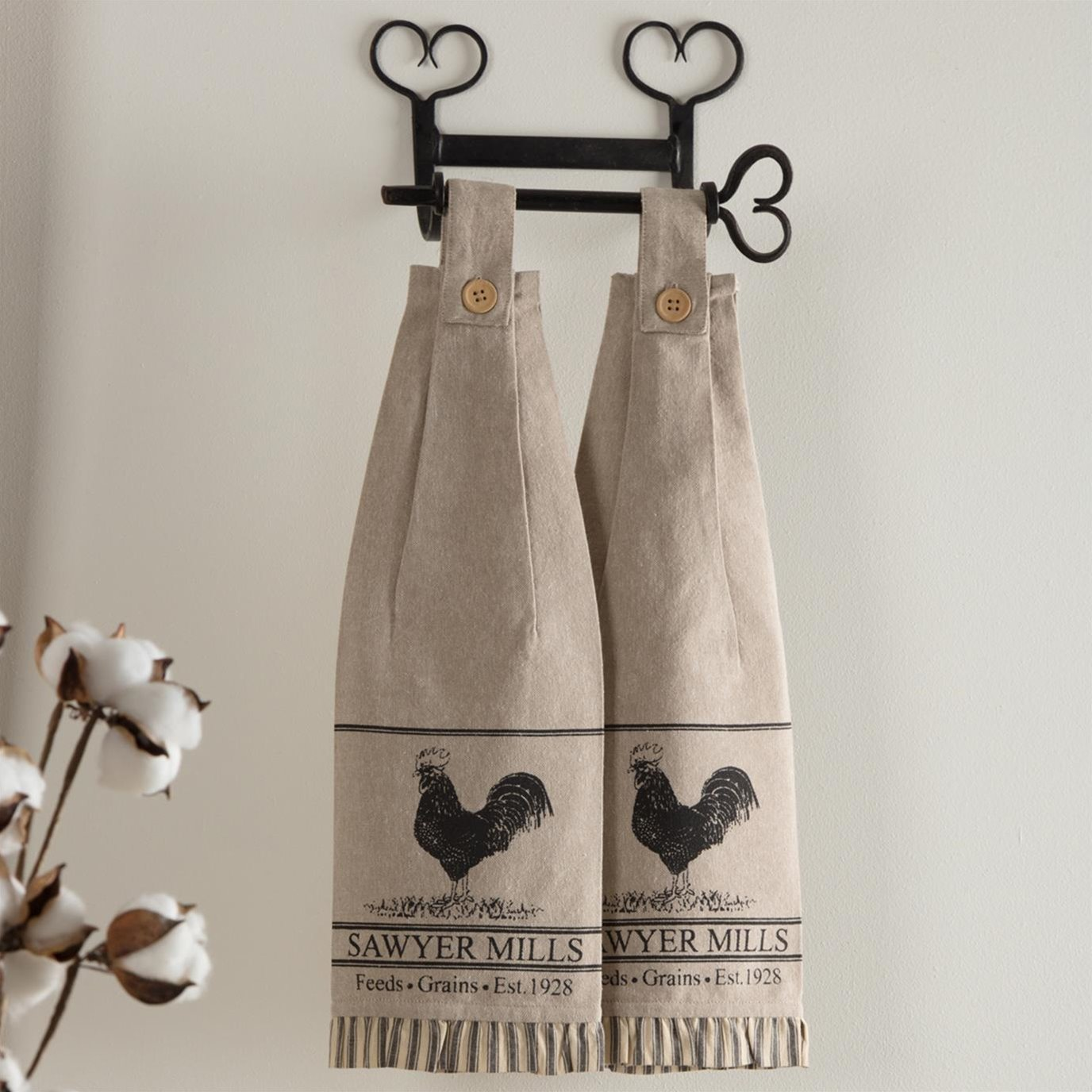 Sawyer Mill Charcoal Poultry Button Loop Kitchen Towel Set of 2