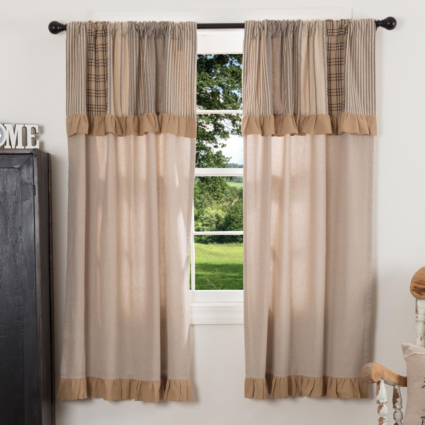 Sawyer Mill Charcoal Short Panel with Attached Patchwork Valance Set of 2 63x36
