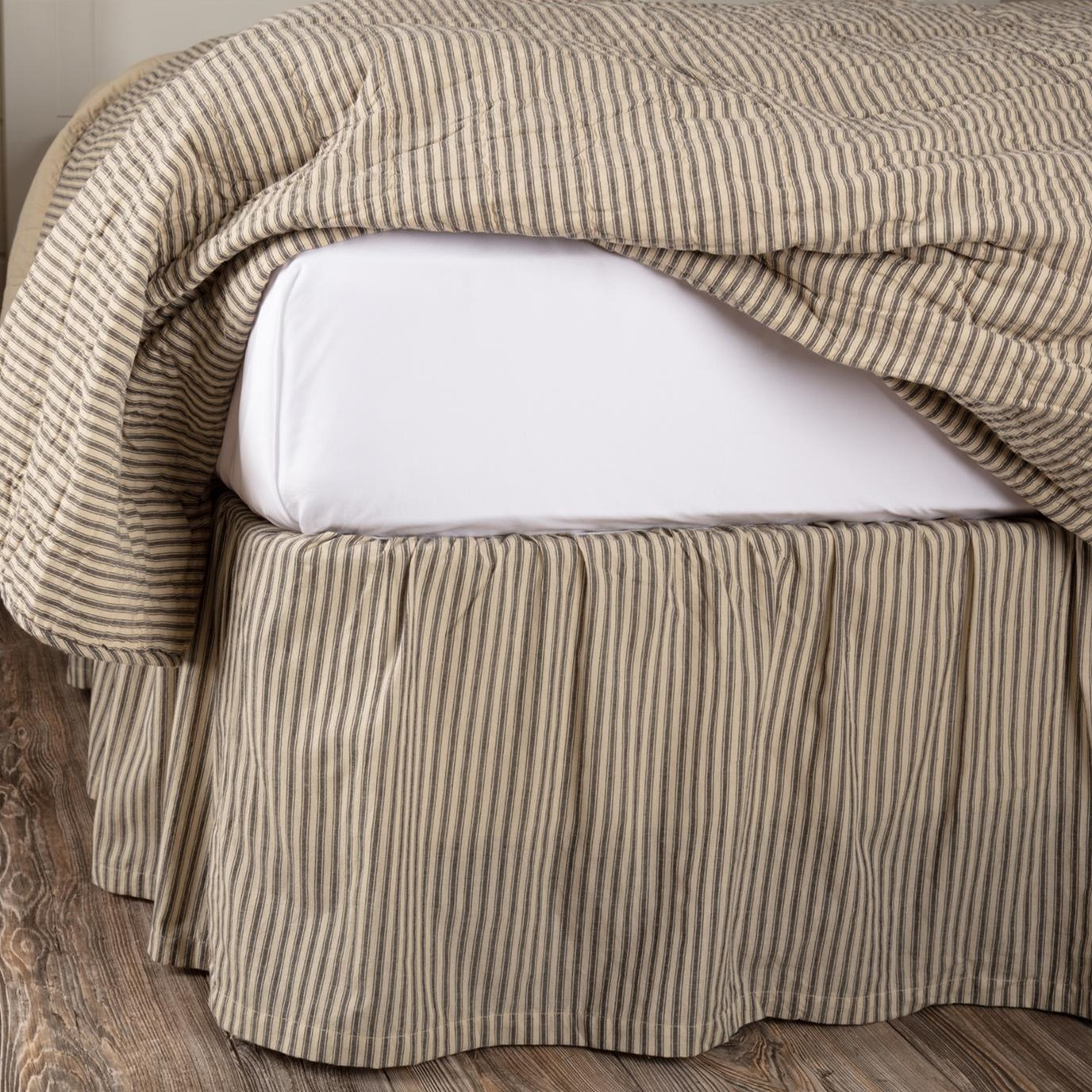 Sawyer Mill Charcoal Ticking Stripe King Bed Skirt 78x80x16