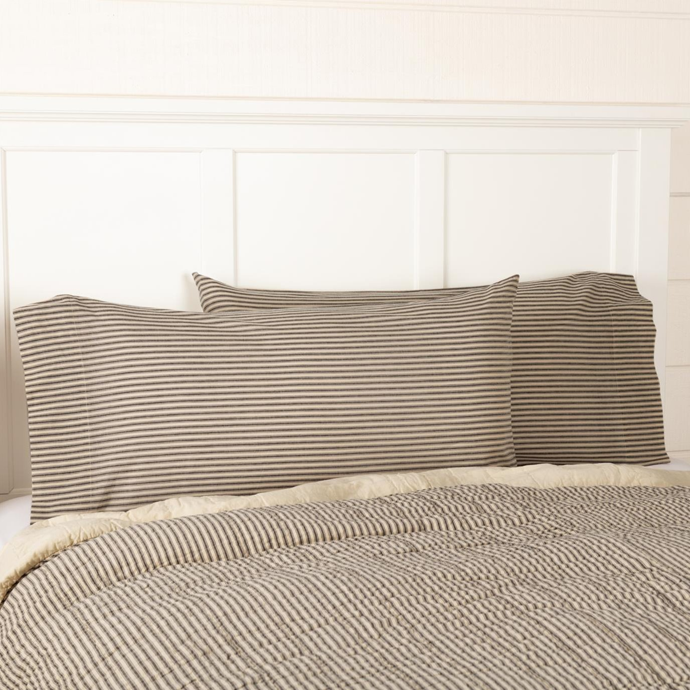 Sawyer Mill Charcoal Ticking Stripe King Pillow Case Set of 2 21x40