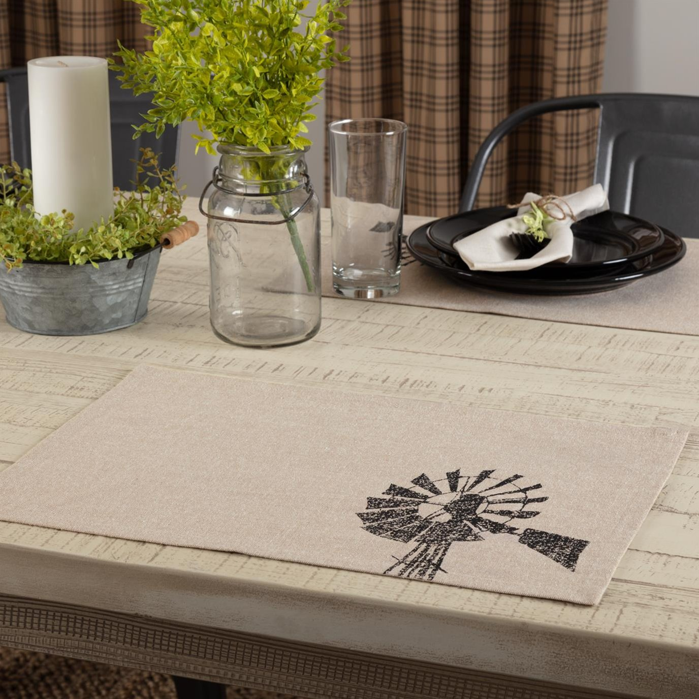 Sawyer Mill Charcoal Windmill Placemat Set of 6 12x18