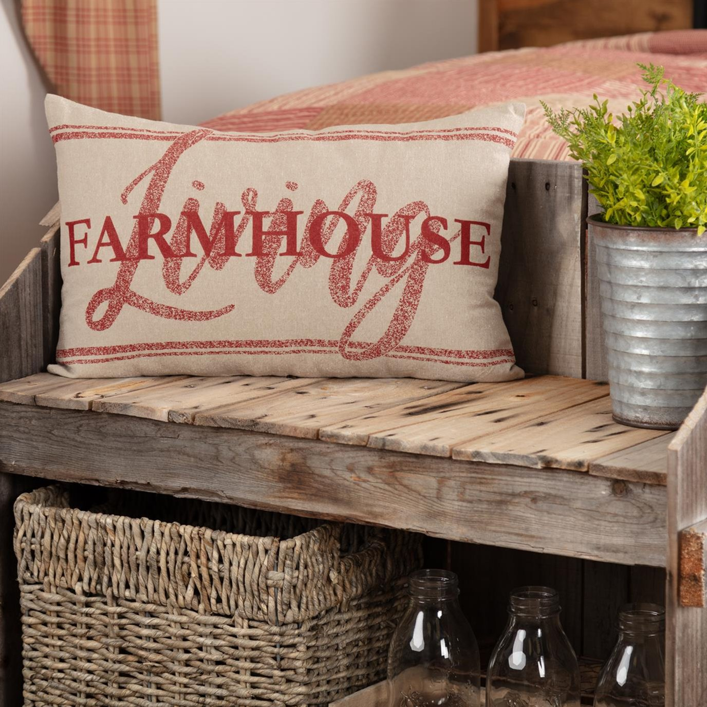 Sawyer Mill Red Farmhouse Living Pillow 14x22