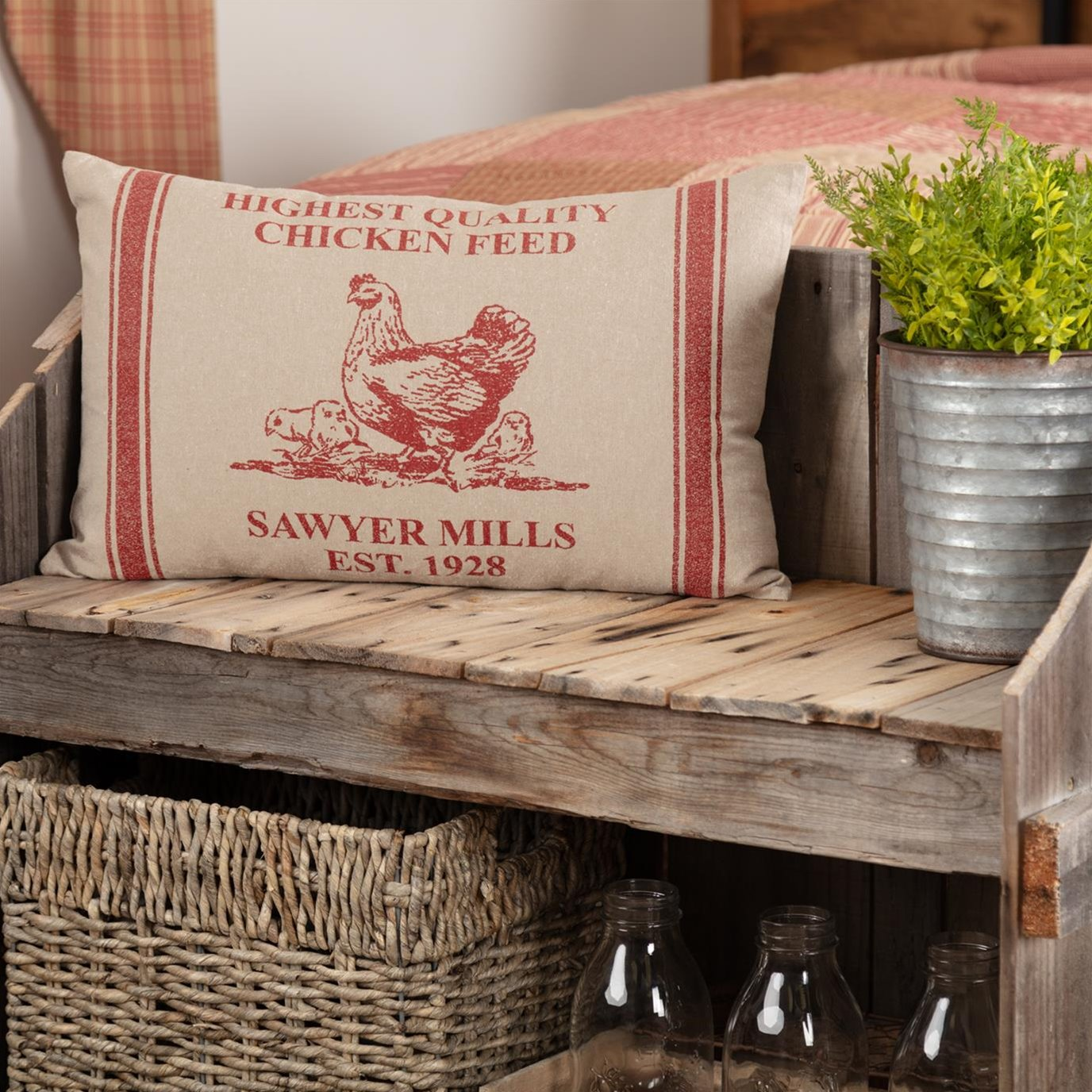 Sawyer Mill Red Hen and Chicks Pillow 14x22