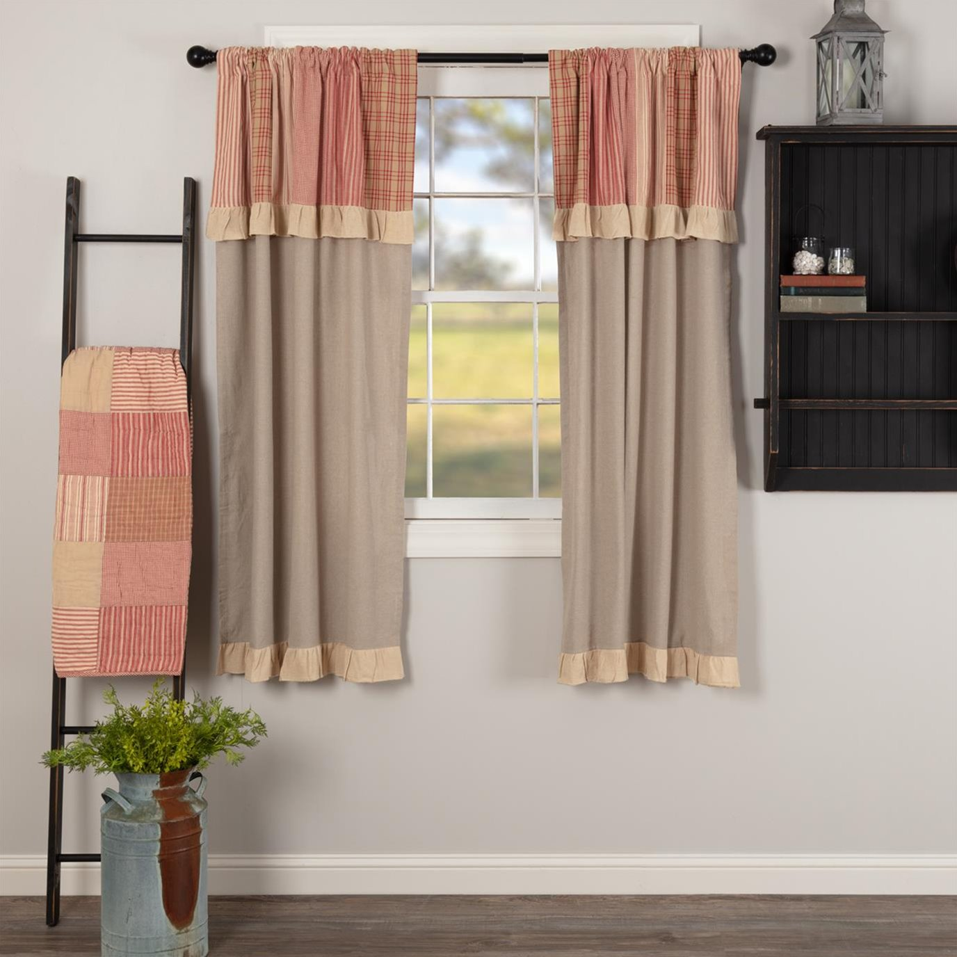 Sawyer Mill Red Short Panel with Attached Patchwork Valance Set of 2 63x36