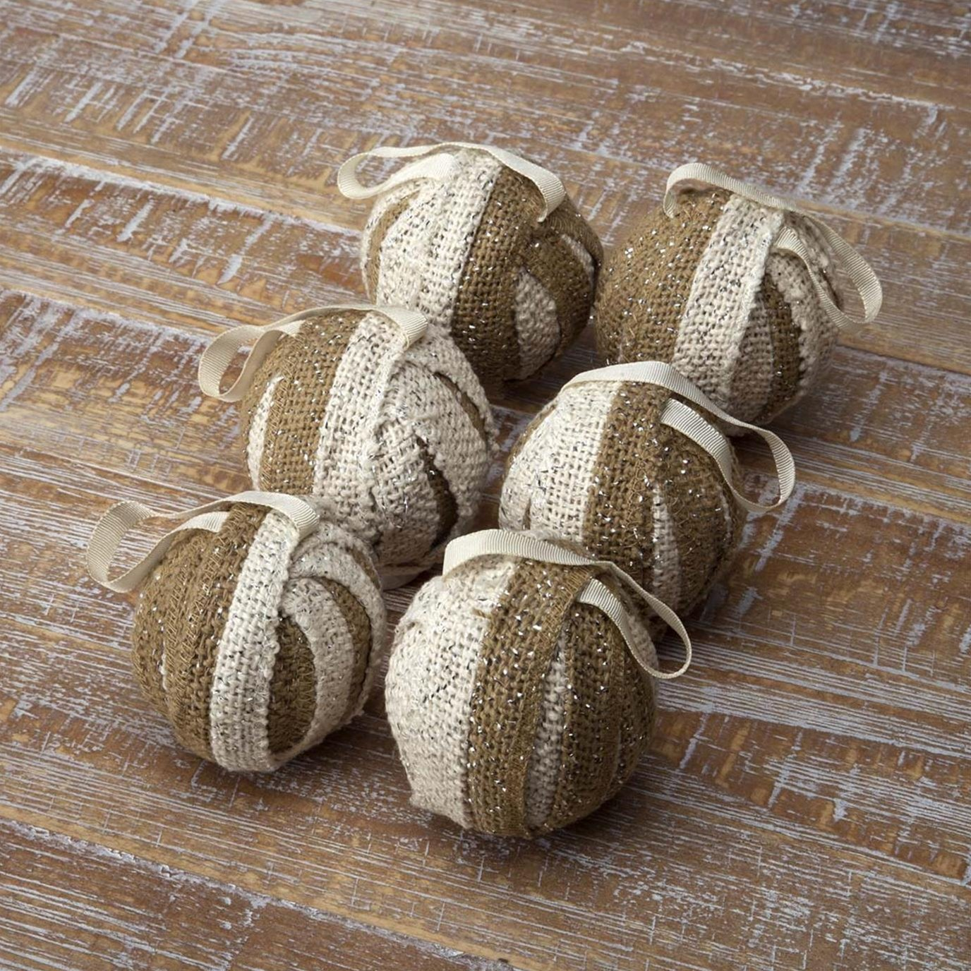 Shimmer Burlap Creme and Natural Ornament Set of 6