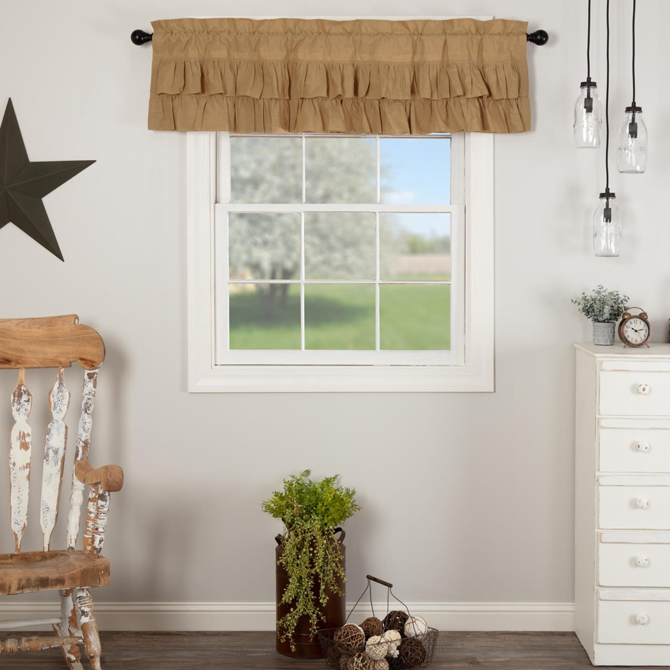 Simple Life Flax Khaki Ruffled Valance 16x60