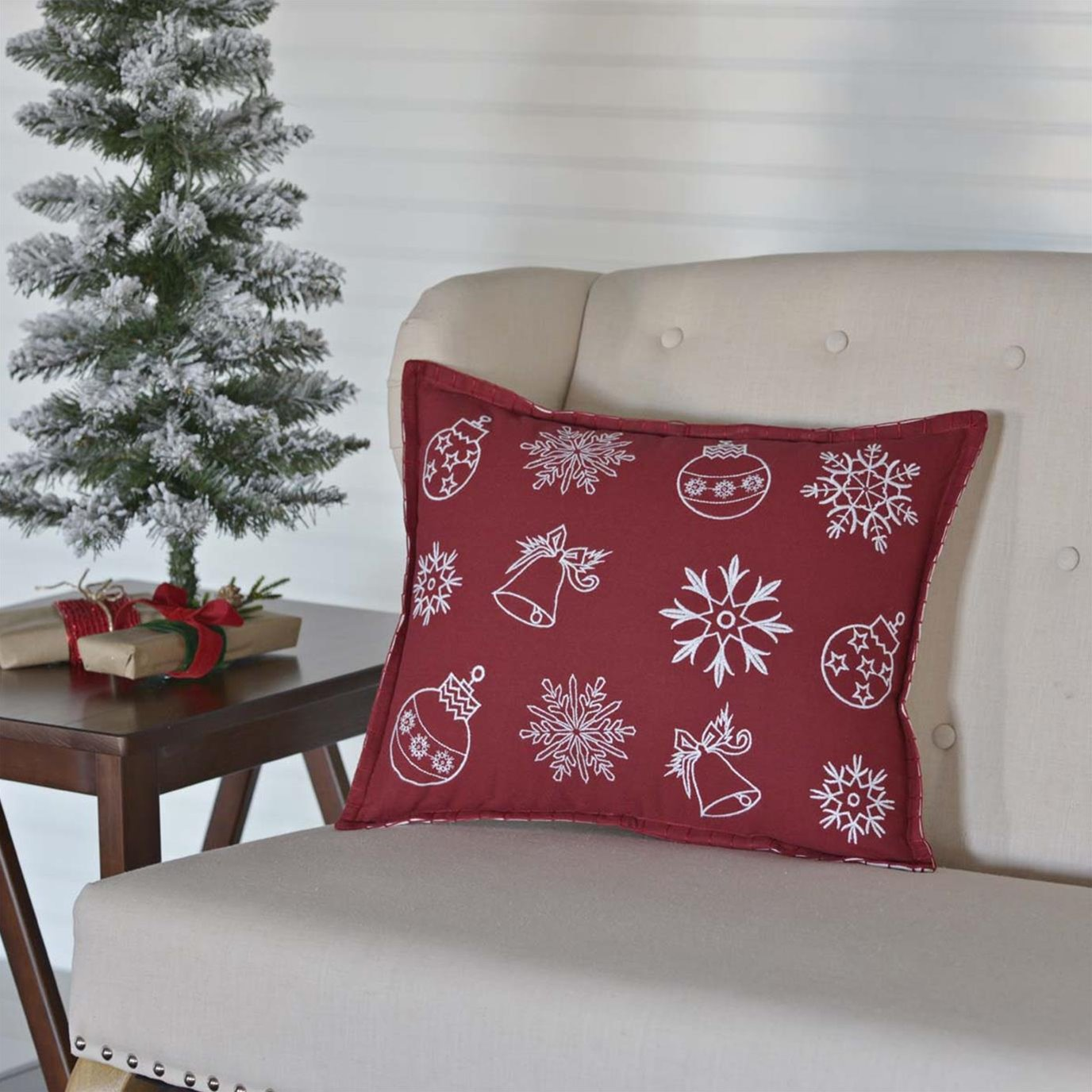 Snow Ornaments Pillow 14x18