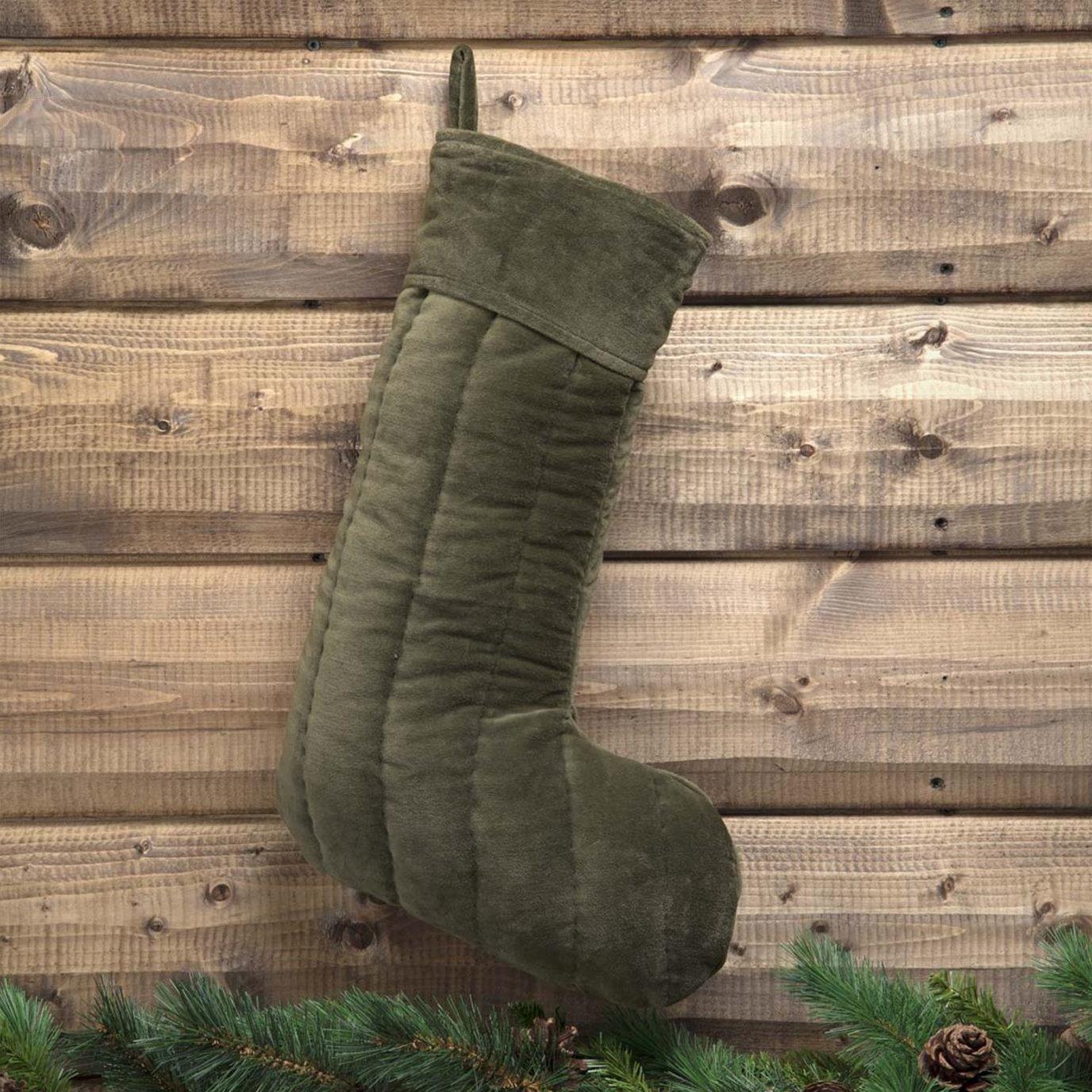 Velvet Green Stocking 12x20
