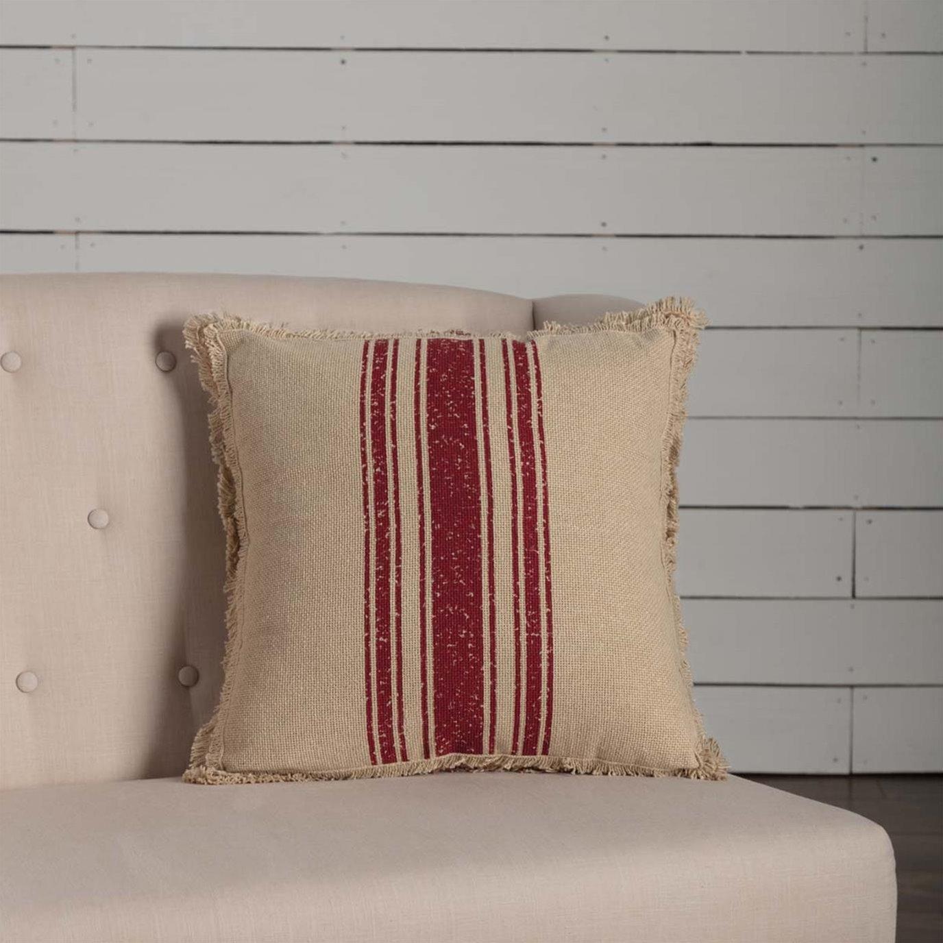 Vintage Burlap Stripe Red Pillow 18x18