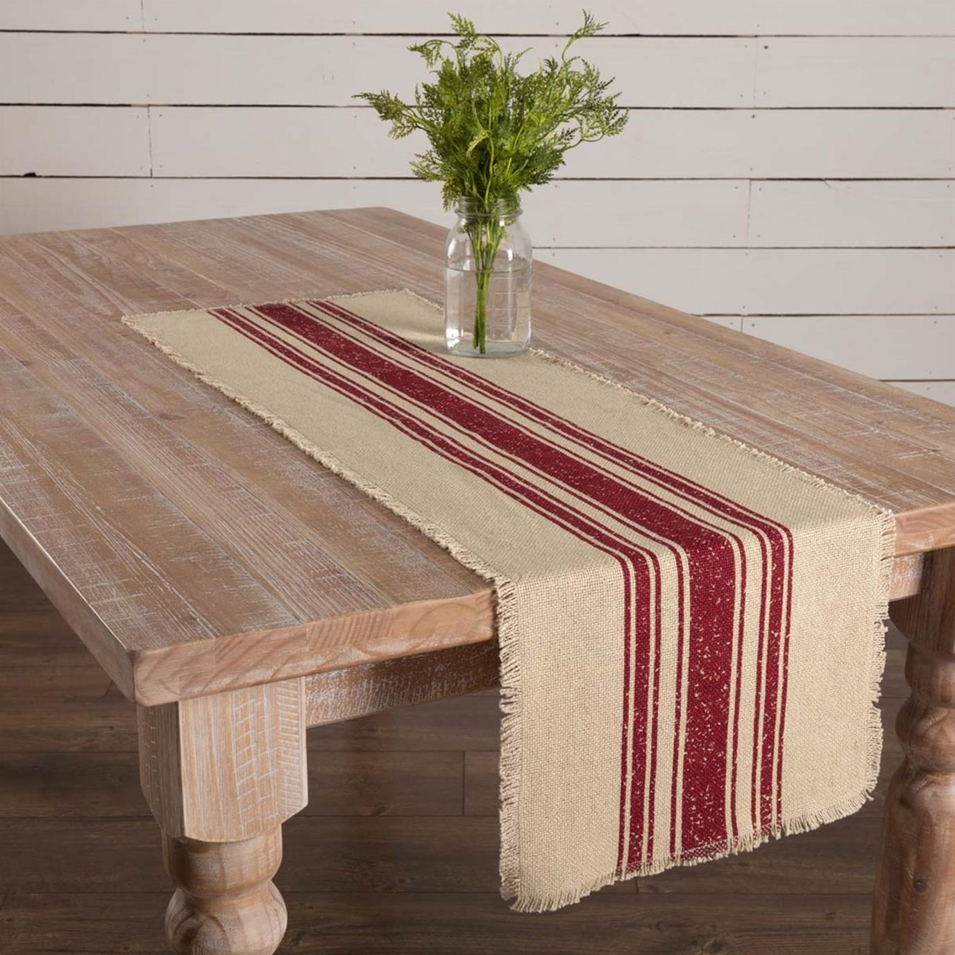 Vintage Burlap Stripe Red Runner 13x48