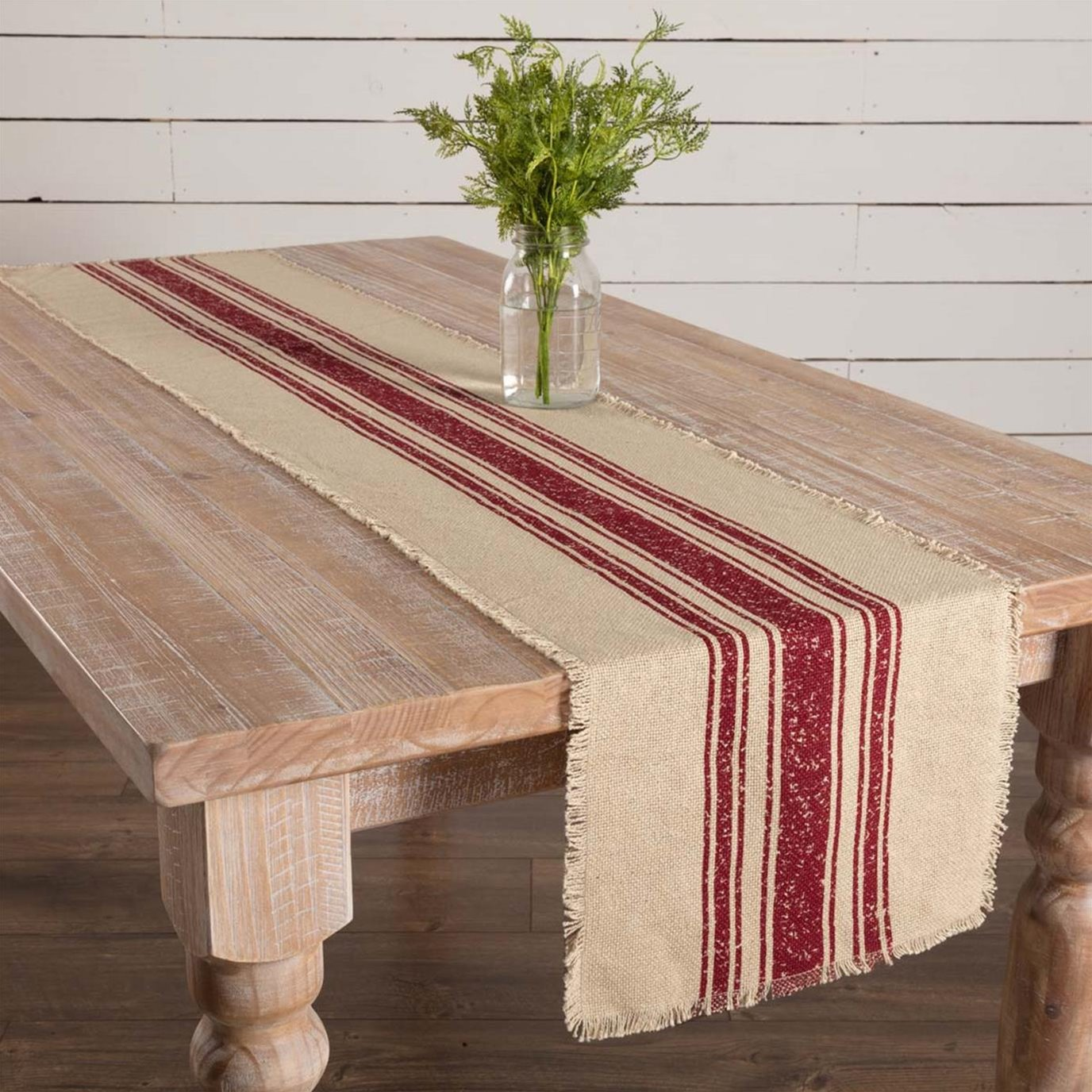 Vintage Burlap Stripe Red Runner 13x72