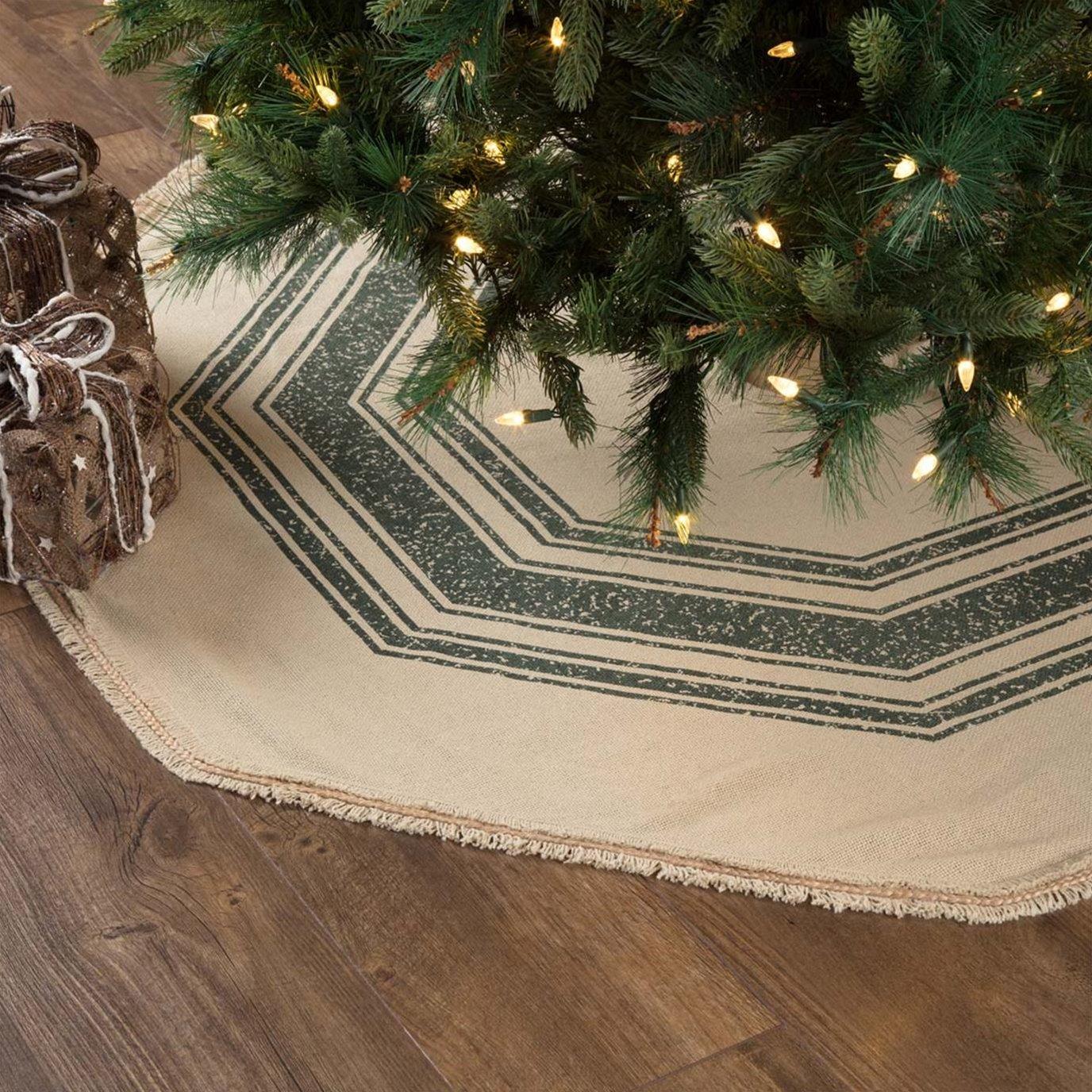 Vintage Burlap Stripe Green Tree Skirt 55
