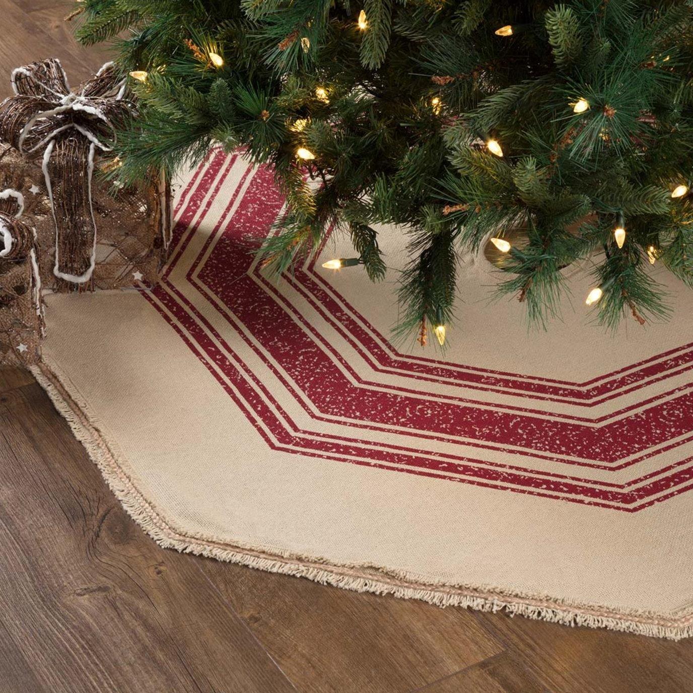 Vintage Burlap Stripe Red Tree Skirt 55