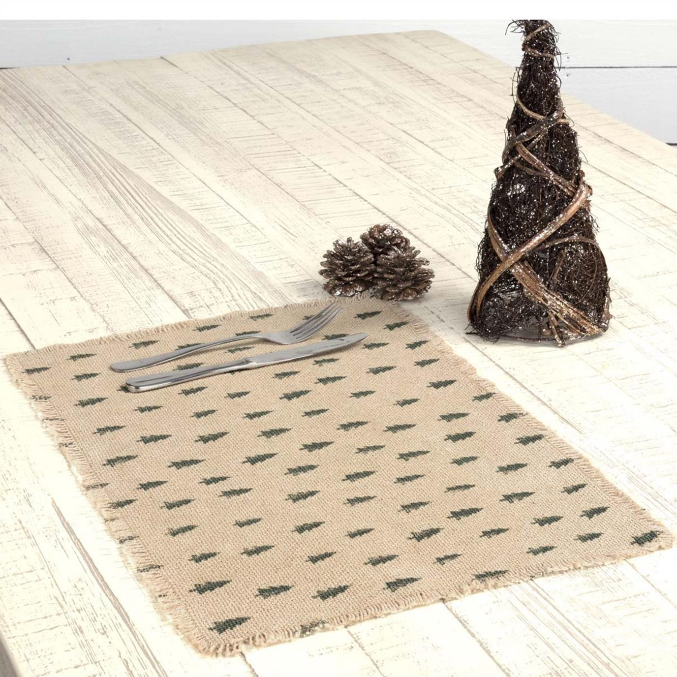 Vintage Burlap Tree Placemat Set of 6 12x18