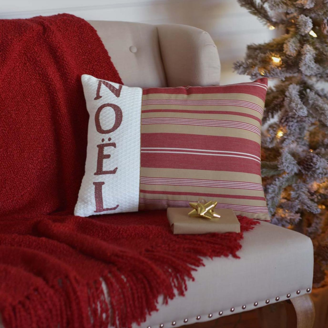 Vintage Stripe Noel Pillow 14x18
