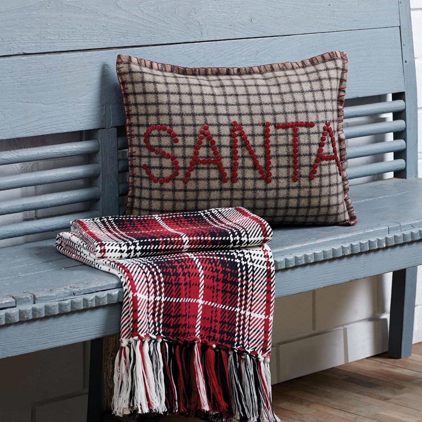 Weston Button Santa Pillow 14x18