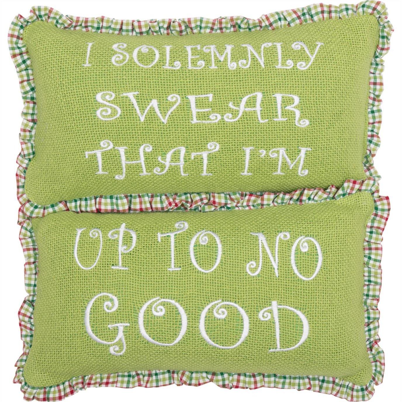 Whimsical Christmas Pillows Up To No Good Set of 2 7x13