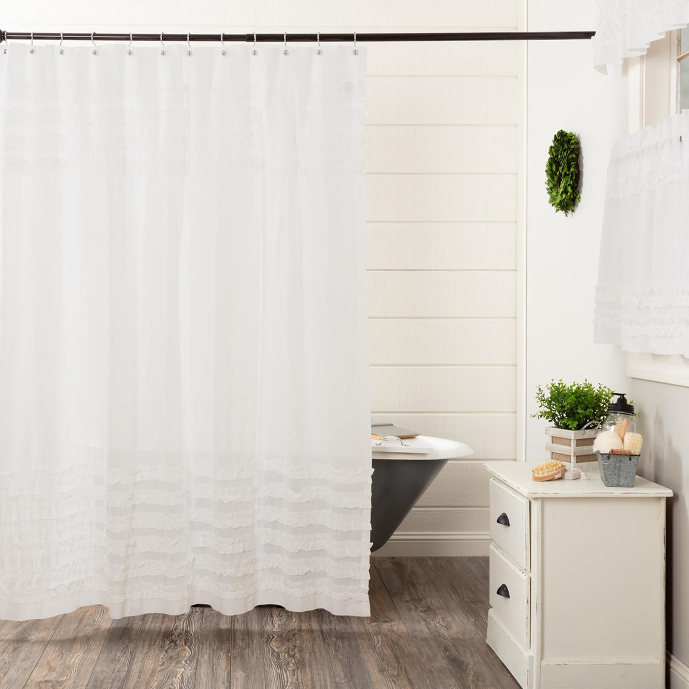 White Ruffled Sheer Petticoat Shower Curtain 72x72 by April & Olive - VHC Brands