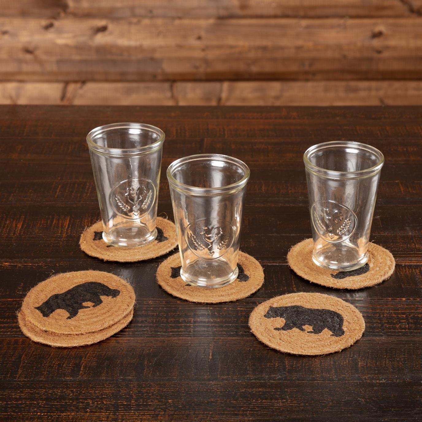 Wyatt Stenciled Bear Jute Coaster Set of 6