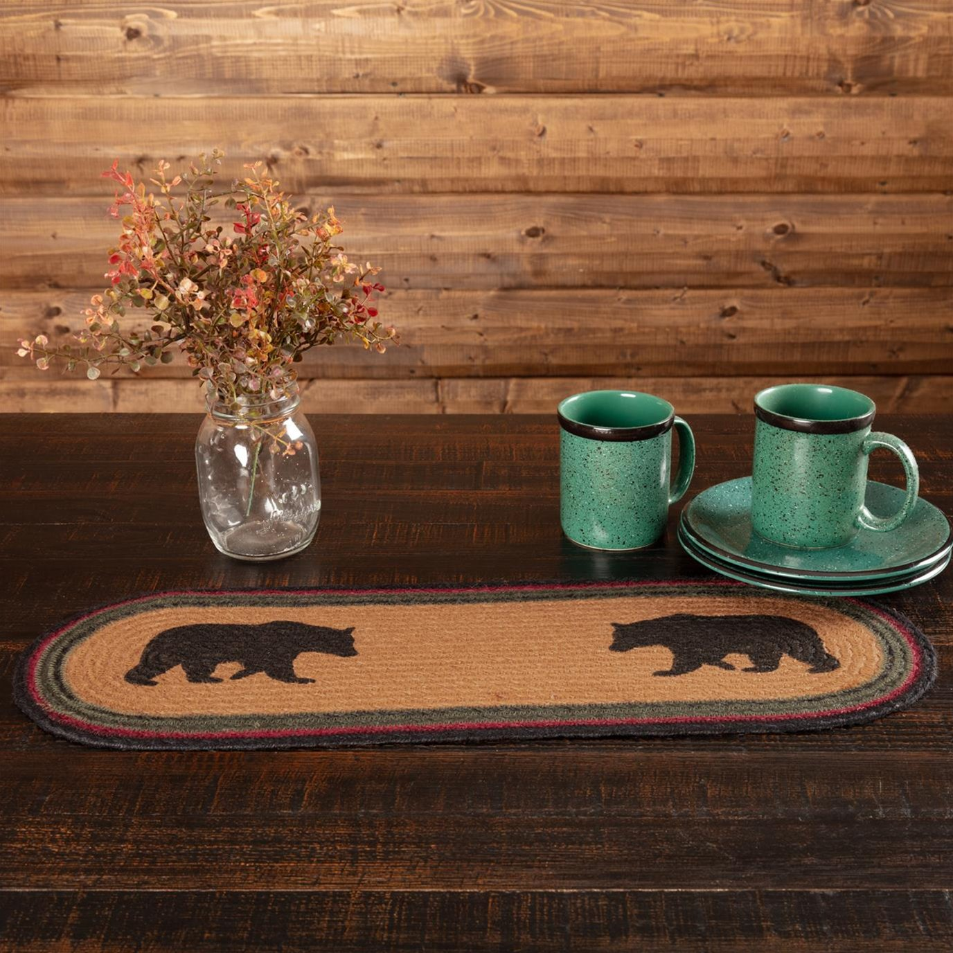 Wyatt Stenciled Bear Jute Runner 8x24