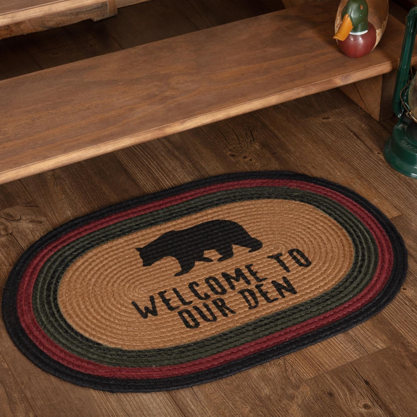 Wyatt Stenciled Bear Jute Rug Oval Welcome to Our Den 20x30