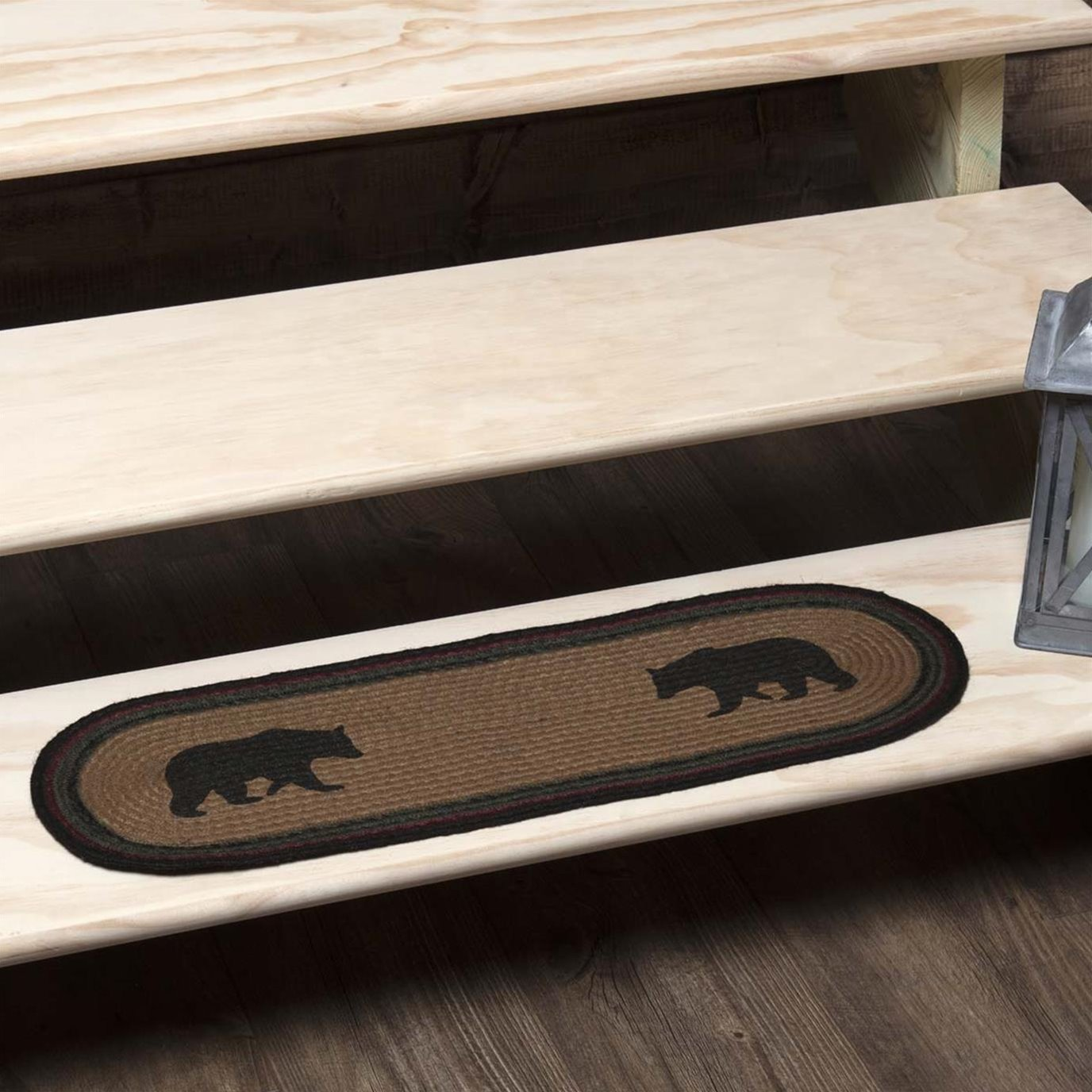 Wyatt Stenciled Bear Jute Stair Tread Oval Latex 8.5x27