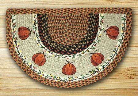 "Harvest Pumpkin Braided and Printed Slice Rug 18""x29"""
