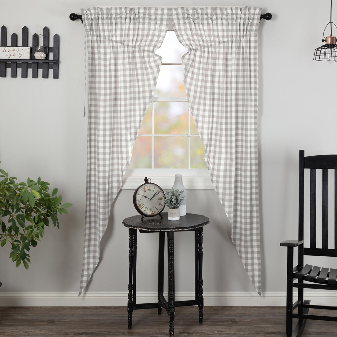 Annie Buffalo Grey Check Prairie Long Panel Set of 2 84x36x18
