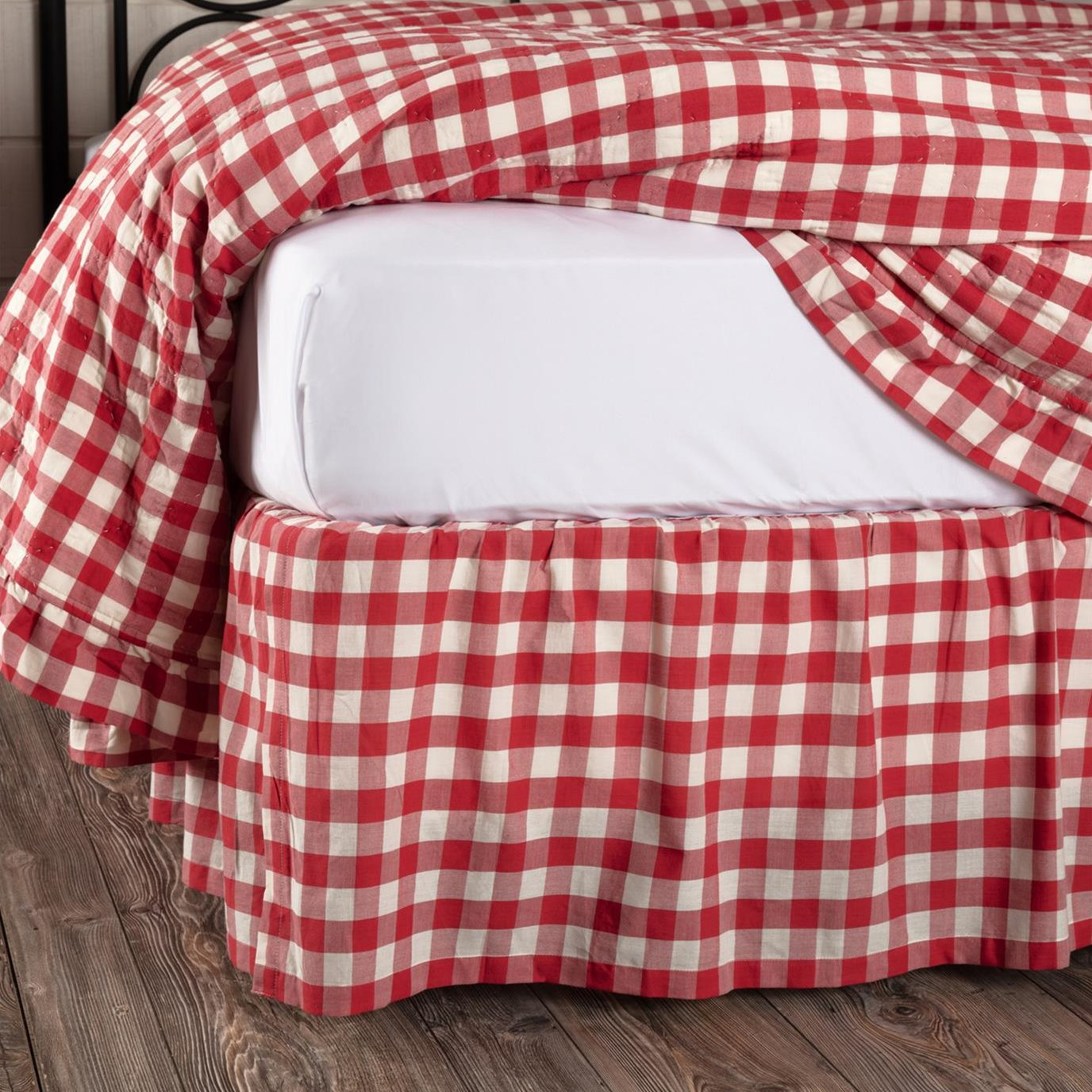 Annie Buffalo Red Check King Bed Skirt 78x80x16